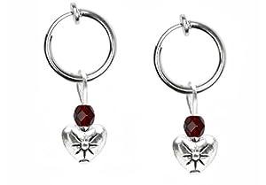 Pair of Heart Non Pierced Clip On Hoop Earrings-DK Red January Birthstone Earrings for Teen Girls-Women