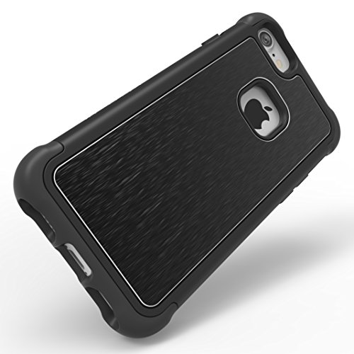 iPhone 7 Case, Ballistic [Tungsten Tough Series] Heavy Duty Protection Black Case for Apple iPhone 7 Drop Test Certified 7ft Impact Drop Protection Black Brushed Metal Back Plate - Also Fits iPhone 6s