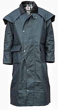 WWK WorkWear King Mens Deluxe Cupra Wax Stockman Long Cape Jacket by WWK / WorkWear King