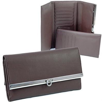HPW Handbags W144 Plain leather like fold over flap w/ flip clasp checkbook wallet Coffee Brown