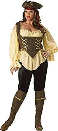 InCharacter Costumes Women's Plus-Size Rustic Pirate Lady Plus Size, Tan/Brown, 2X
