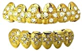 Top & Bottom CZ Cross Hiphop bling Grillz Set - Gold Plated