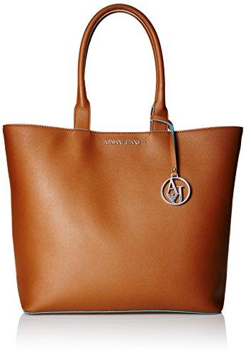 ARMANI JEANS Borsa shopping a spalla in saffiano COGNAC 922535CC856 0151