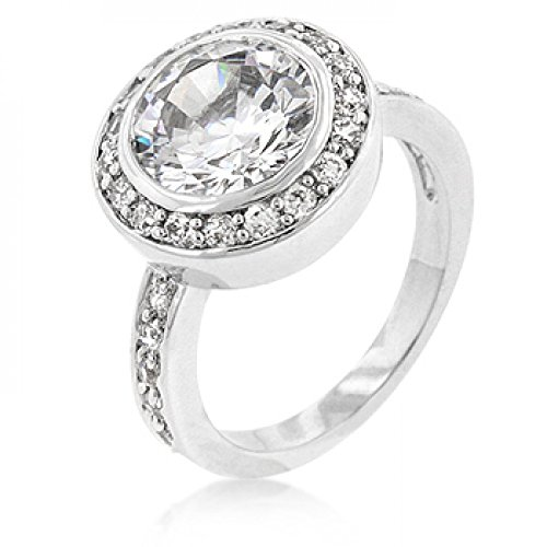 Genuine Rhodium Plated Clear Cubic Zirconia Engagement Ring Polished Into A Lustrous Silvertone Finish
