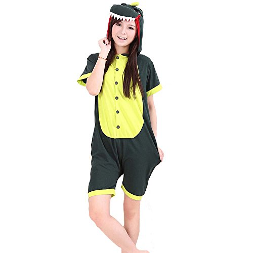 "New Spring/Summer Unisex Kigurumi Pajama Adult Onesie Cosplay Costume (M For 160-170Cm (63""-67""), Green Dinosaur) front-666464"