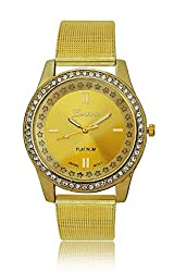 Geneva Platinum Studded Analog Gold Dial Womens Watch- GP-149