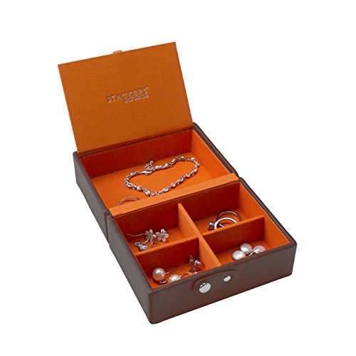 Stackers Jewellery Box | Chocolate Brown & Bright Orange Travel Box Stacker Accessory