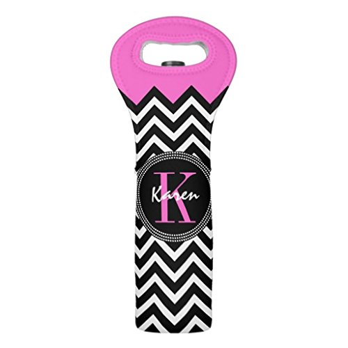 Unique Neoprene Wine Tote Gift Bag 2 Bottle Hot Pink and Black Chevron Monogrammed Insulated Wine Tote Carrier Handbag Wine Accessoy (Monogrammed Wine Carrier compare prices)