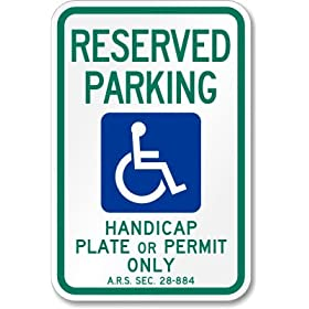 "My Parking Sign K-1435 Engineer Grade Reflective Aluminum Rectangle ADA Handicapped Sign, Legend ""Reserved Parking Handicap Plate or Permit Only A.R.S Sec. 28-884"" with Handicapped Symbol, Blue/Green On White"