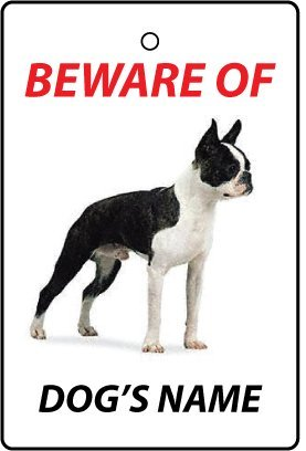 Personalised Boston Terrier Dog Name Car Air Freshener back-1004722