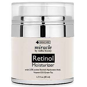 Retinol Moisturizer Cream for Face - With Retinol, Hyaluronic Acid, Tea Tree Oil and Jojoba Oil. Best Night and Day Moisturizing Cream 1.7 Fl. Oz.