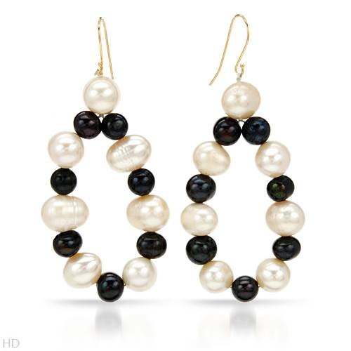 Earrings With Genuine 6.0 - 12.0mm Freshwater Pearls 18K/925 Gold plated Silver. Total item weight 24.0g Length 66.5mm