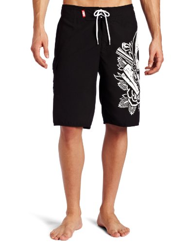 Famous Stars and Straps Men's MI Vida Loca Boardshort, Black/White, 34