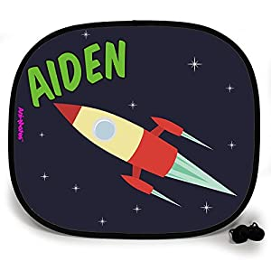 123t OUTTA THIS WORLD BLAST OFF SPACESHIP PERSONALISED Baby/Child Vehicle Sunshade x 1