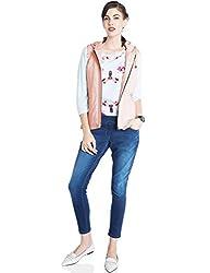 Park Avenue Women's Cotton Blouson Jacket (PWOB00075-R3_Medium Red_81)