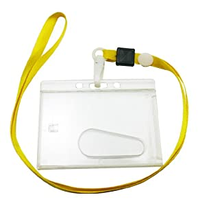 Chuzhao Wu Yellow Polyester Lanyard Neck Strap Swivel Hook Transparent Hard Plastic Holder For ID Card Holder(Pack Of 10)