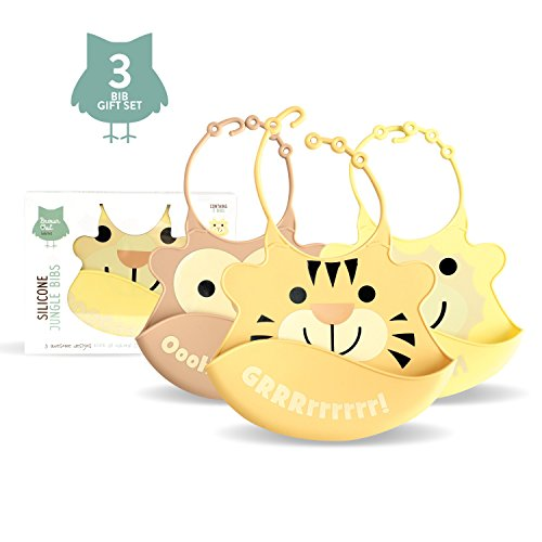 Set of Three Soft Baby Jungle Bib Wipeable with Food Catcher - Soft Silicone Baby/toddler Bib - Neutral Colours Unisex - Boxed Giftset ****Introductory Price**** - 1