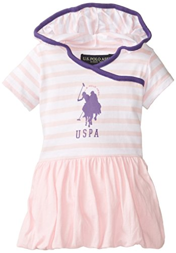 U.S. Polo Assn. Baby-Girls Infant Hooded Dress With Bubble Hem, Sugar Pink, 18 Months