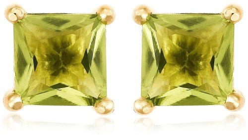 Gold Plated Sterling Silver 6mm Square-Cut Peridot Earrings