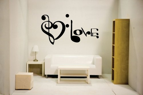 Newclew Music Notes Spelling Love Wall Decal Vinyl Art
