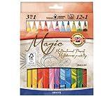 """12 Stück dreieckige Mehrfarbarbstifte """"Magic Natur"""" + 1 Blender (Mischstift) hergestellt von KOH-I-NOOR"""