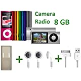 8 GB MP3 MP4 Player (5th Gen) With Built In Video Camera & FM Radio, FREE USB Cable, Earphones & Rubber Case by giZmoZ n gadgetZ (Assorted Colours)