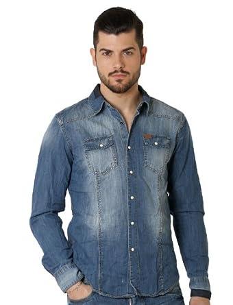 Deeluxe 74 - Chemise Homme En Jeans - couleur: Bleu - taille: XXL