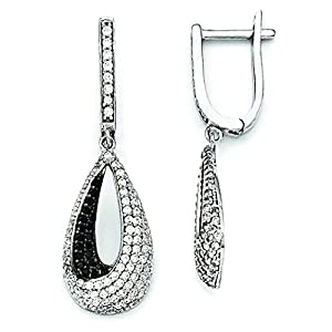 Sterling Silver & Cz Brilliant Embers Teardrop Dangle Hinged Hoop Earrings