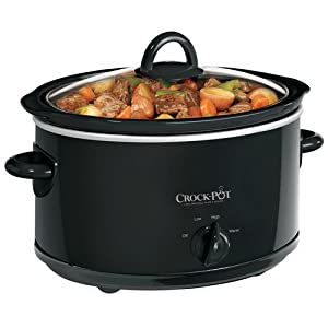Crock-Pot SCV400B 4-Quart Oval Manual Slow Cooker, Black