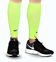 Calf Compression Sleeves for Shin Splints, Leg Pain & Discomfort by AprilTex ★ Increases Blood Circulation to Reduce Leg Cramps & Muscle Aches ★ Ultimate Comfort & Breathability ♥ 1 Pair ★ (Neon Yellow,L-XL)