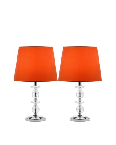 Safavieh Set of 2 Derry Stacked Crystal Orb Lamps, Chrome/Orange As You See