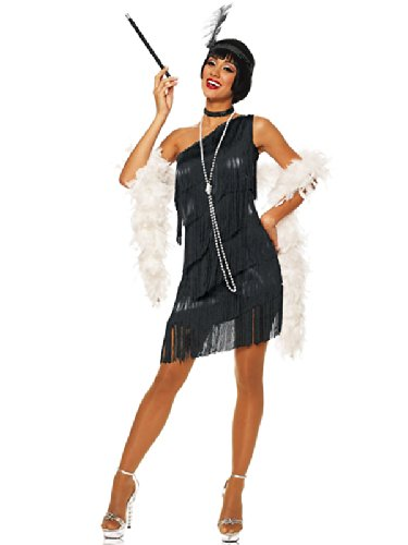 Adult Dazzling Flapper Black Sexy Costume