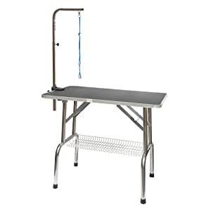 Go Pet Club Heavy Duty Stainless Steel Pet Dog Grooming Table with Arm, 48-Inch