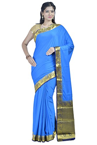 CROSS PLUS Women's Crepe Plain Rich Pallu Mysore Silk Sarees