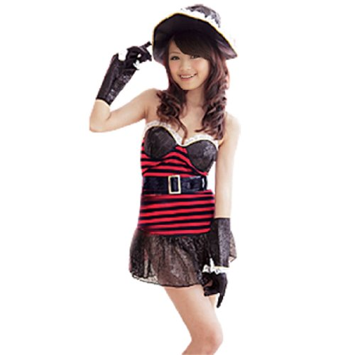 Lady Halloween Sexy Pirate 6 Piece Set Costume + Hat XS