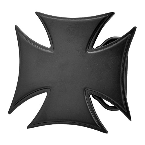 Buckle Rage Adult Mens Solid Gothic Maltese Cross Punk Rock Belt Buckle Black