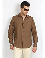 Sting Men's Brown Slim Fit Casual Shirt