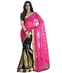RockChin Fashions Embroidered Half n Half Saree (RC-4005_Pink_Black)