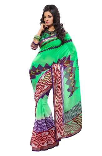 Fabdeal Womens Chiffon Green Saree With Blouse Piece