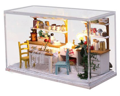 Big Dollhouse Miniature Diy Wood Frame Kit With Light Model Sweet Promise Gift Ldollhouse48-D90