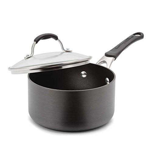 Calphalon Hard Anodized Aluminum Nonstick Cookware Sauce Pan, 2 qt., Black