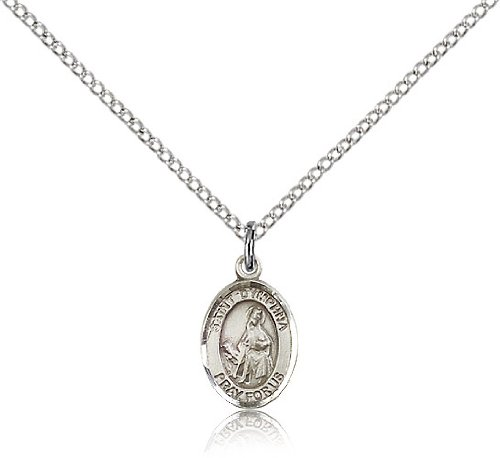 "Jewelsobsession'S Sterling Silver St. Dymphna Pendant - 18"" Chain"