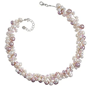 Chuvora Genuine Pink Cultured Fresh Water Pearl with Crystal 3-Strand Silk Thread Cluster Necklace 16