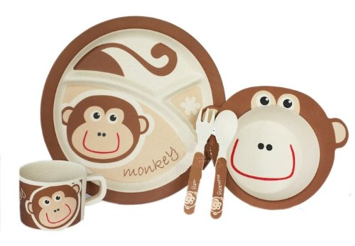 Bamboo Fiber Funny Kids Set Happy Monkey Bpa Free, Non-Toxic [Free Baby Meal Organic Supplement]