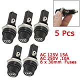 5 Pcs Ac 125v 15a 6 X 30mm Panel Mount Fuse Holder