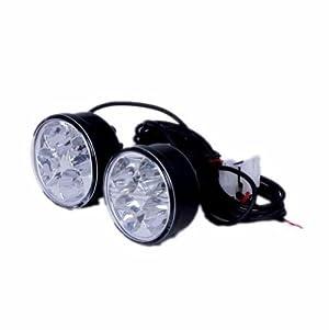 Po 2x White Round Style Daytime Running Light 4 Led 12v Dc Driving DRL
