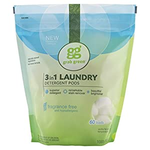 Grab Green Natural 3-in-1 Laundry Detergent Pods, Fragrance Free
