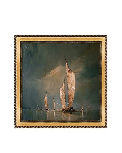 "Justyna Kopania ""Boats, Set Sail"" Framed Canvas Print"