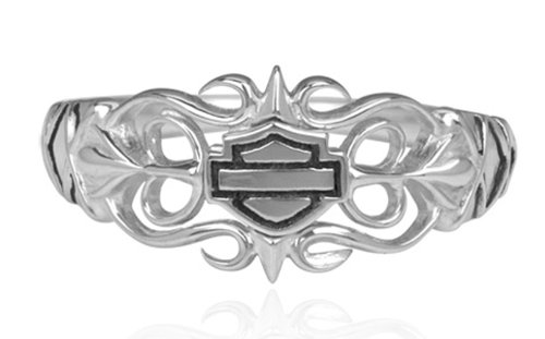 Harley-Davidson .925 Silver Lace Filigree B&S Womens Ring (9)