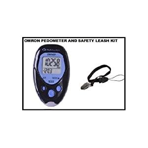 Omron Hj-113 Pocket Pedometer, Walking Style, Black and Safety Leash for Pedometer (1) Unit. Helps Save Pedometers From Loss and Misplacing